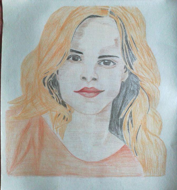 glamorus Emma Watson's hand made col - ashish art gallery