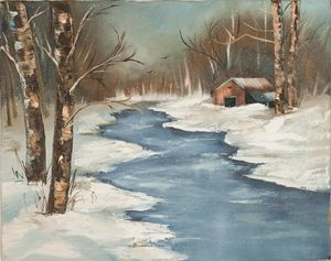 Barn in the Winter Woods