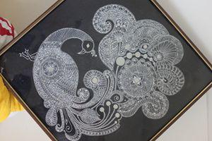 ceramic peacock painting