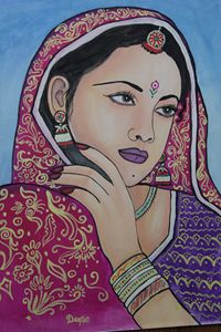 water color painting of women