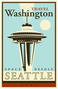 Travel Washington - Vintage Travel by Kevin Brown Studio