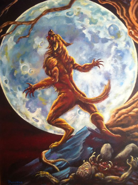 werewolf in front of full moon - tom donovan artwork