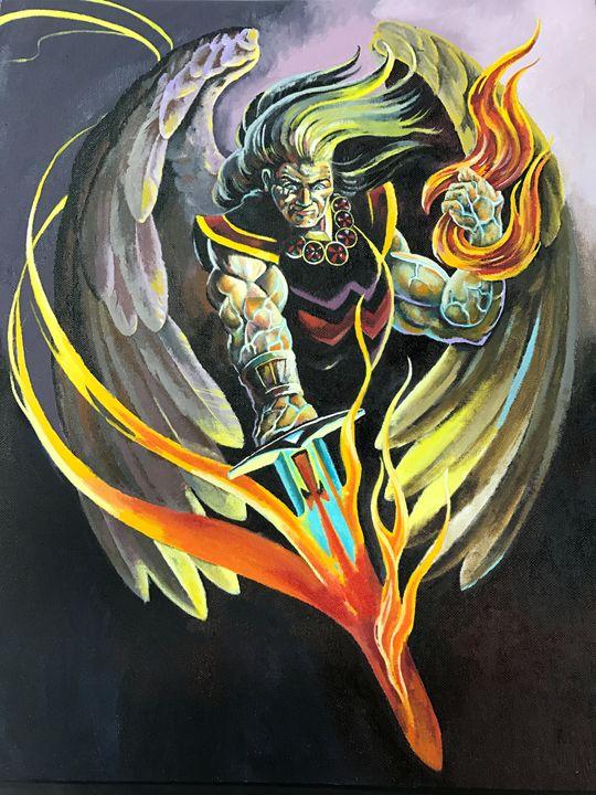 angel with sword of fire - tom donovan artwork