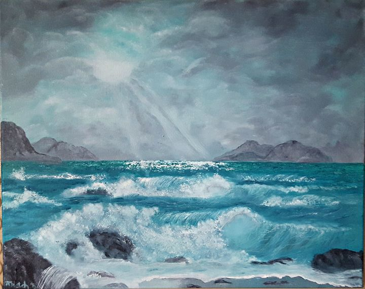 Sun ray across the turquoise wave - Star's Art