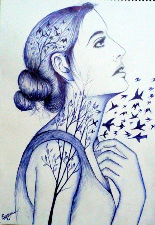 Flaying birds in girls heart - Surya art