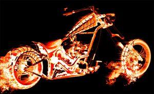 Motorcycle in flames
