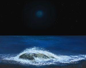 Blue Moon over the Ocean