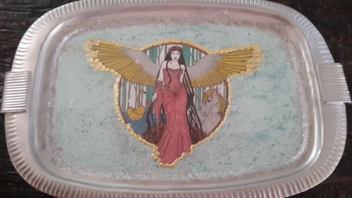 Silver Angel Tray - Upcycled Art & Crafts