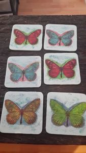 Butterfly coasters x 6