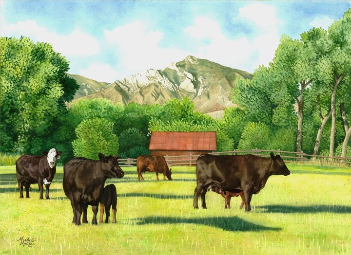 South Fork Cody WY Cows -Watercolor - Michele Aguilar