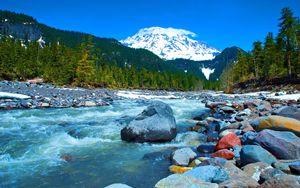 Mountain Stream Sky Nature Trees Cre