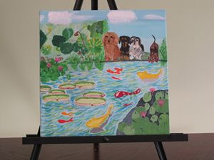 DOXIES VISITING WITH KOI FISH - jacquelinedogpaintings