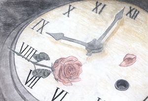 Old Clock Face and Wilting Rose