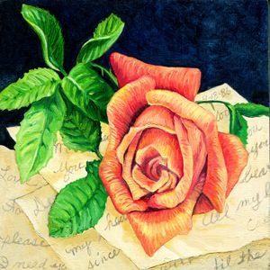 Rose with Old Love Notes