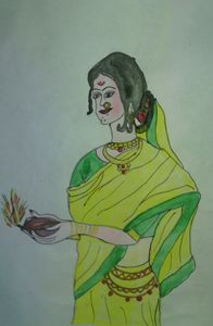 A traditional Indian woman worship