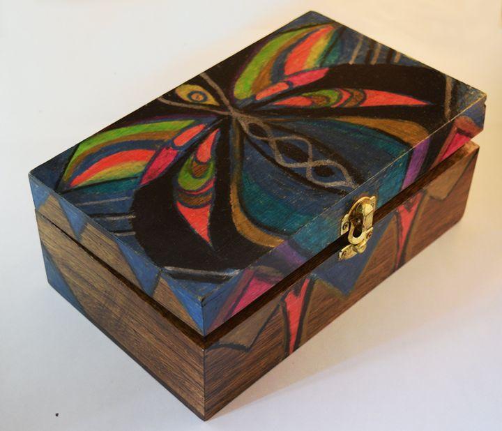 Colorful Wooden Box - Hajna V. Csorba, Artist.