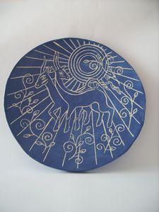 Goats ceramic ornamental plate