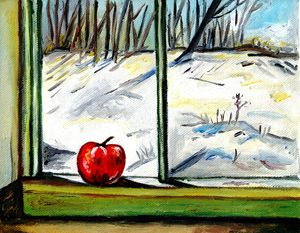 apple in window