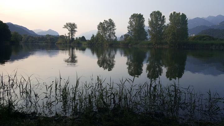 Evening in Italy river - ArtAnnaGogoleva