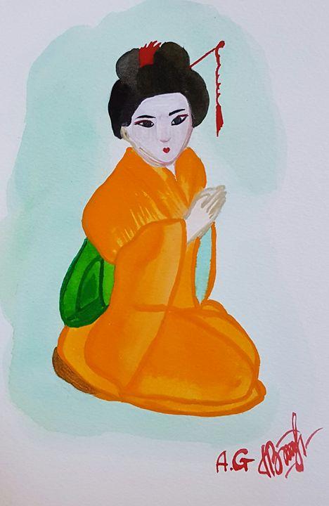 Geisha orange kimono - ArtAnnaGogoleva