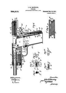 1911 Firearm Patent Drawing