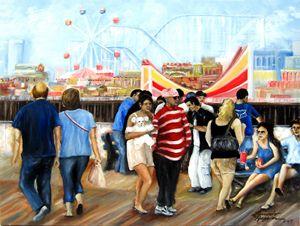 Summer Sunday in Seaside Heights, NJ - Leonardo Ruggieri Fine Art Paintings