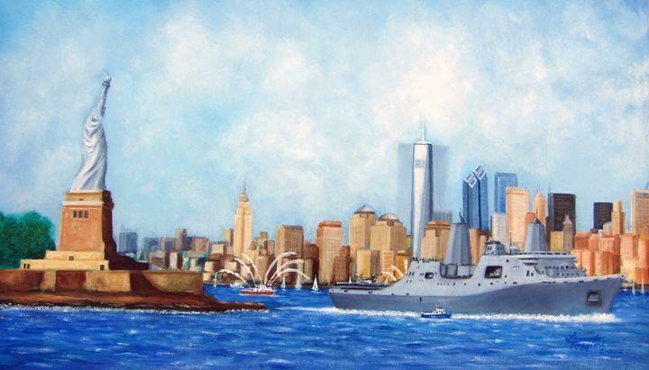 Forged Steel-Rebirth of NYC USS New - Leonardo Ruggieri Fine Art Paintings