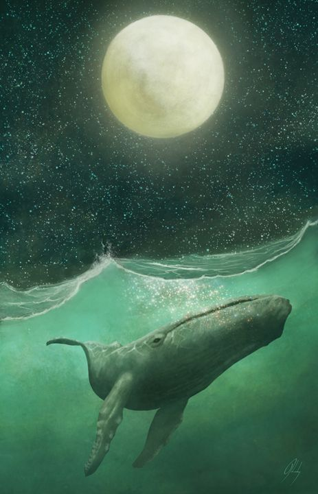 The Whale & The Moon - LeaheyArt