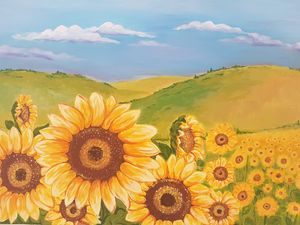 Sunflower landscape painting