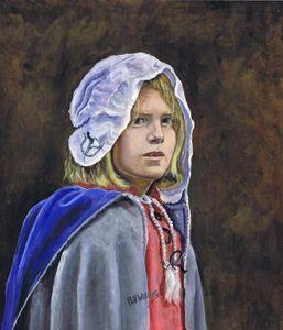 Girl in English civil war clothing