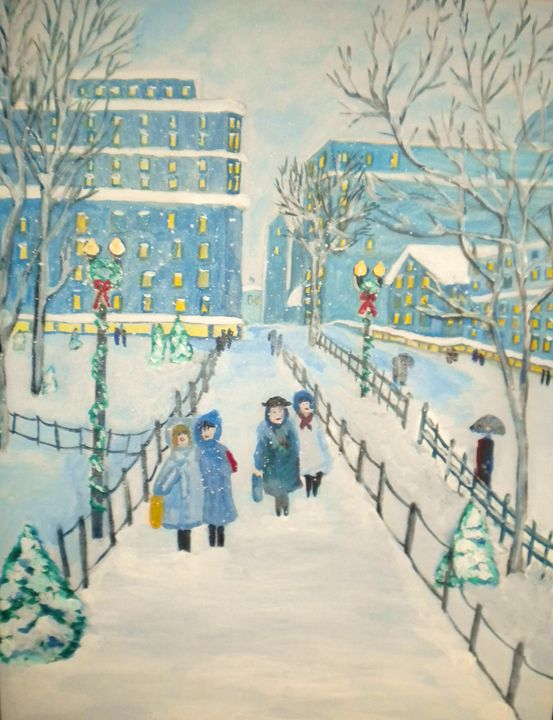 Four Girls in the City - VickiJane Paintings