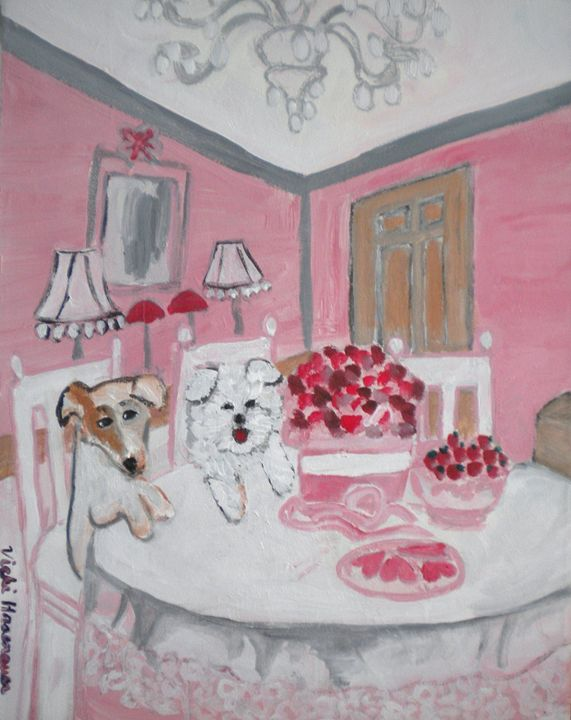 Valentines Day for Puppies - VickiJane Paintings