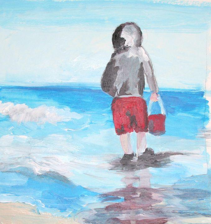 Boy with Bucket - VickiJane Paintings