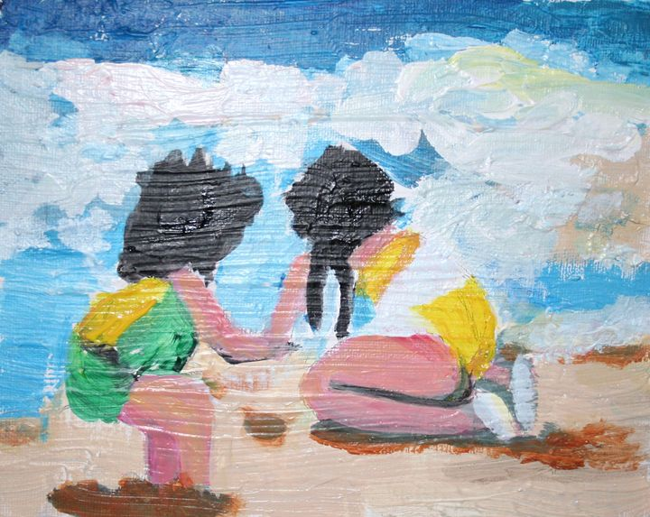 Two Girls Digging - VickiJane Paintings