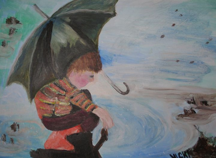 Boy in Puddle - VickiJane Paintings