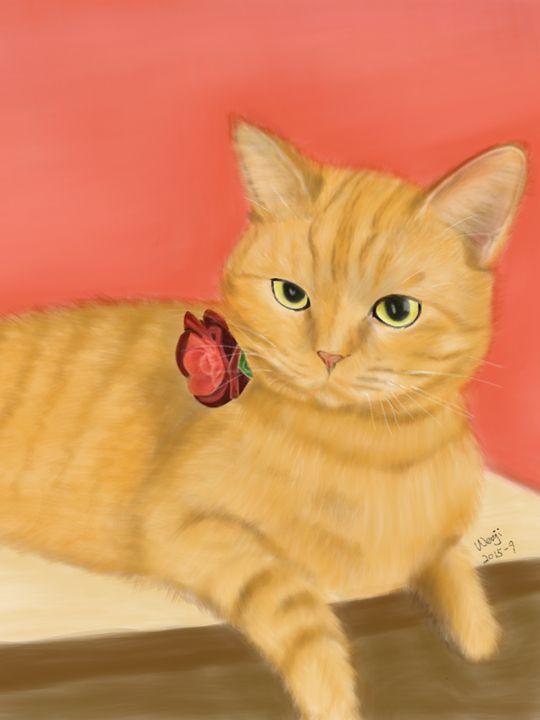 Orange Cat Portrait - Wenji's Gallary