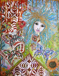 Butterfly Blu girl Abstract