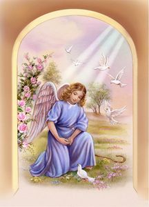 Cute Angel with white doves