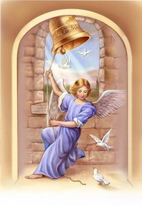 Lovely angel with doves