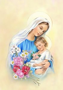 Mother Mary with Jesus in her arms