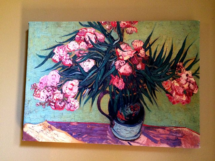 Oleanders and Books by Van Gogh - Chameleon Canvas Art
