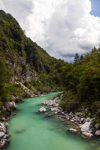 Soca, alpine river in Slovenia, cent