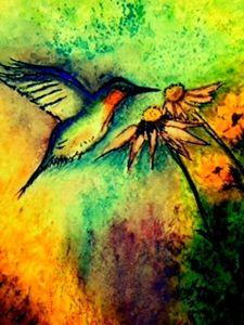 Hummingbird in Brusho