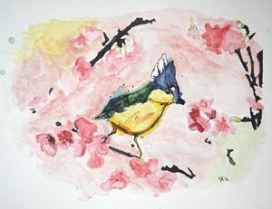 Bird on a Cherry Branch - Sasha Kendrick Art
