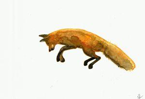 Jumping fox painting