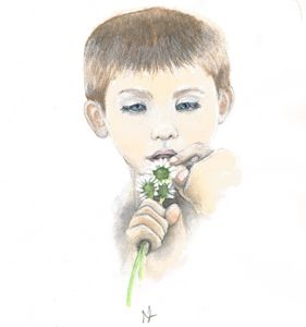 Little Boy With Daisies