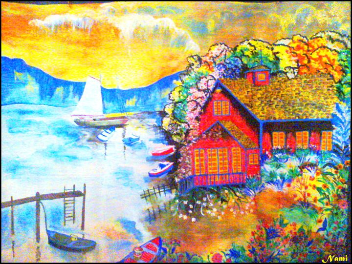 Red house on shore - Nami's colorline