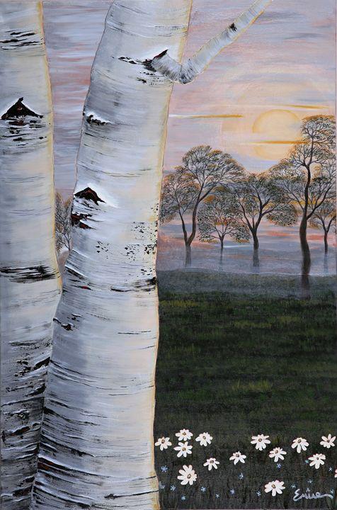 Twin Birch Trees - EminentArt