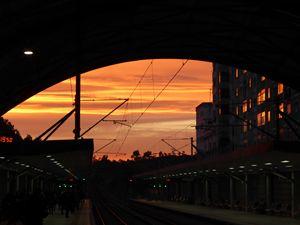 sunrise at the train station