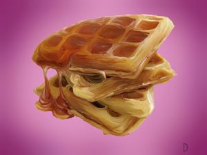 Stack of Waffles with Syrup.